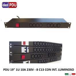 """PDU Multipresa Serie VDE19"""" - 10A - 8 C13  interr. luminoso"""