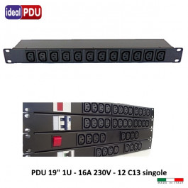 """PDU Multipresa  Serie VDE 19"""" - 16A 230V - 12 C13"""