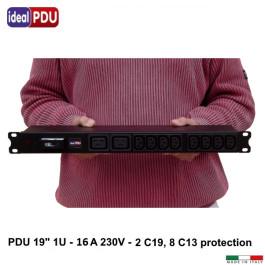"""PDU Multipresa Serie VDE 19"""" - 16A 230V - 8 C13 + 2 C19 Prot"""