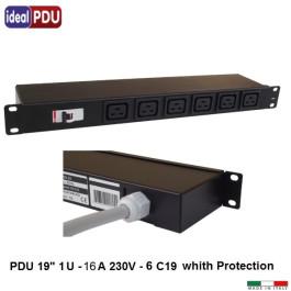 PDU Multipresa Serie VDE 19 - 6  prese C19 + magnetotermico