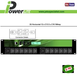 """PDU Intelligente 19"""" 2U 16A - 12 C13 + 2 C19 monitorata"""