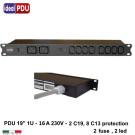 """PDU Multipresa Serie VDE 19"""" - 16A 230V - 8 C13 + 2 C19 Fuse"""