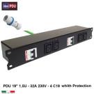 PDU Multipresa Serie VDE 19 1,5U - 4 prese IEC C19 protette