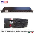 """PDU Multipresa Serie VDE 19"""" - 16A 230V - 12 C13 con MTG"""