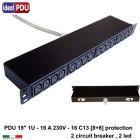 PDU Multipresa Serie VDE 19 - 16A 230V - 8+8 C13 / MTG + Led
