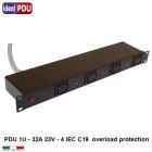 """PDU Multipresa VDE19"""" - 32A 230V - 4 C19 overload protection"""