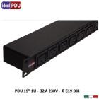 """Multipresa 19"""" 1U , 32 Amper 230V - 8 prese IEC C19"""