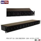 """PDU Multipresa Serie VDE - 19"""" 1U - 32A 230V - 6 C19 + 6 C13"""
